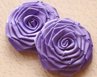 2 Handmade Ribbon Roses (2.5 inches) In Lavender MY-003-193 Ready To Ship