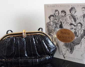 lisette black snake  reptile skin purse convertible clutch or shoulder   gold accents   great vintage style