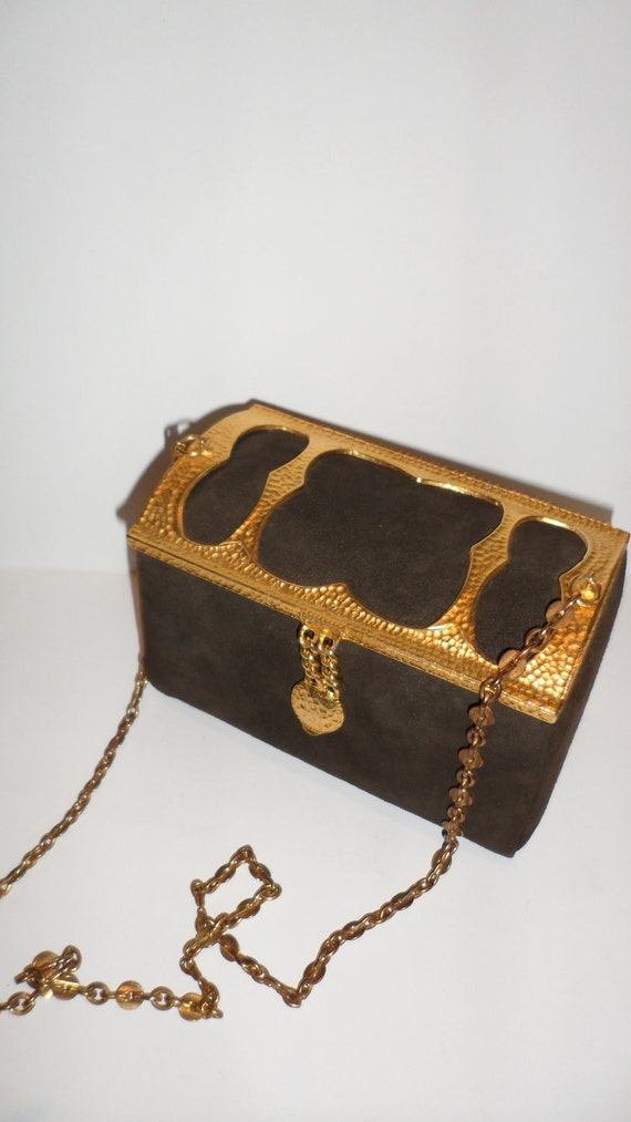 lisette suede trunk  box purse metal details  brown suede sharp looking  mint condition
