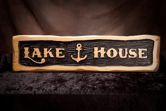 Rustic Lake House Sign with Anchor