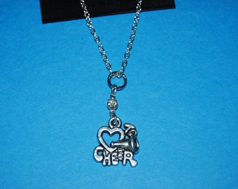 "Cute ""I love Cheer"" Cheerleading Charm Necklace with Swarovski Crystal"
