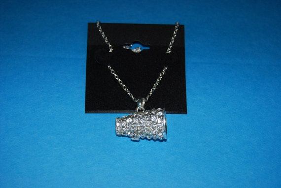 New Sparkle Rhinestone Megaphone Cheerleading Charm Necklace