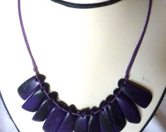 Tagua Purple triangles Necklace