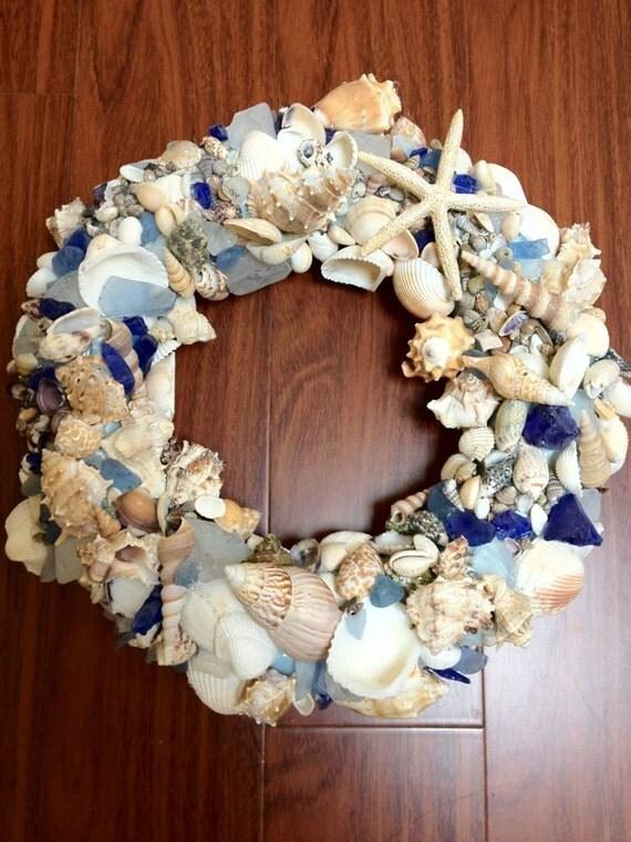 Coastal Beach Wreath with Blue Sea glass