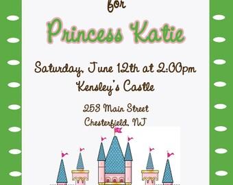 Custom castle invitation for your princess