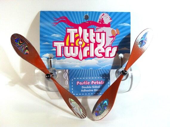 Titty Twirlers - Propeller Pasties - Orange/Chrome