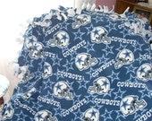 Dallas Cowboys Tie Blanket - NFL Football Fleece No Sew - DESIGN your Own - Great Gift - Bedding, Quilt, Throw
