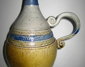 Multicolored SaltFired Ceramic Art Pottery Bottle