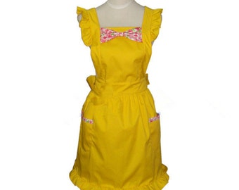 Beautiful Handmade full apron dress  for kitchen cooking bowknot yellow Accessories