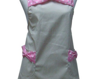 Beautiful Handmade full apron dress  for kitchen cooking small bowknot Accessories