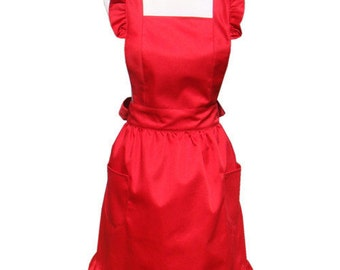 Beautiful Handmade full apron dress  for kitchen cooking red fashion Accessories