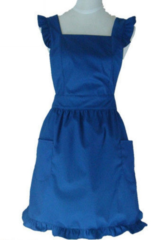 Beautiful Handmade full apron dress  for kitchen aprons  fashion blue Accessories