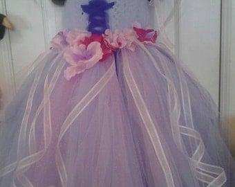 Disney inspired Tangled Rapunzel tutu dress with matching hair piece nb-5t