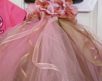Elegant Debutant Ball Princess and Flower girl TuTu Dress Pink and Brown with matching headpiece NB-18M