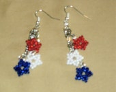 Patriotic Earrings with silver chain and ear wires