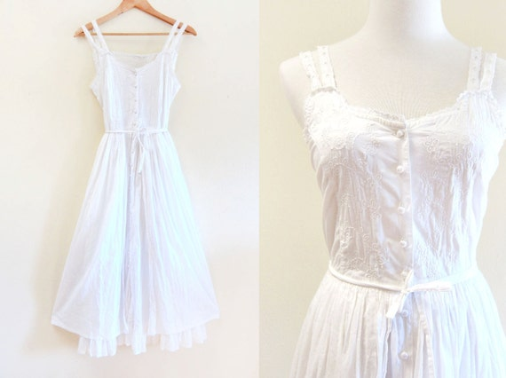 Vintage 1970s White Hippie Gauze Sheer Cotton Embroidered Ruffle Hem Beachy Wedding Style Dress
