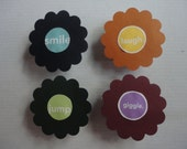 """Bottlecap Magnets- Flower On Front with """"giggle, smile, jump, laugh"""""""