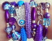 SET: Purple Rain... Purple and Turquoise Lanyard Braided ArmCandy with Silver Hamsa Beaded Bracelets