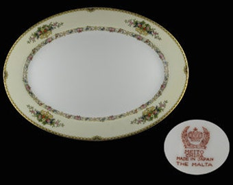 "11 3/4"" VINTAGE Meito ""THE MALTA"" Oval Serving Platter"