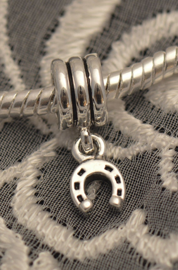 Horseshoe Dangle Charm / Bead .925 Sterling Silver Made for European Style Bracelets