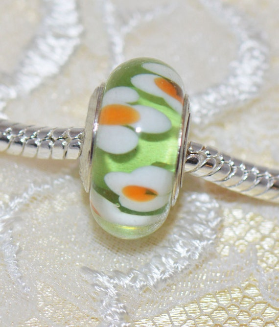 Authentic Handmade Murano Glass Bead for European Style Bracelets Sterling Silver Core Green with White and Orange Flowers