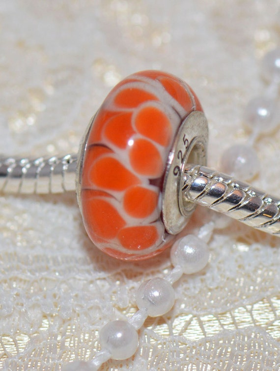Orange Lotus Flower Authentic Handmade Murano Glass Bead Sterling Silver Core .925 For European Style Bracelets