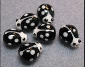 Black and White Ladybug Ceramic Beads 6pk. Ships from the US. International Shipping.