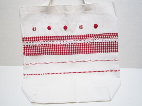 Clearance Womens Canvas Tote Bag Red Accents Embellished