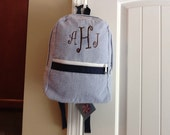 Monogrammed Navy Seersucker Toddler Backpack