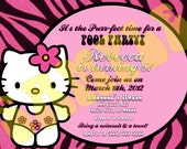 HELLO KITTY pool party zebra print pink blue green Birthday Invitation personalized customized other party supplies avaliable
