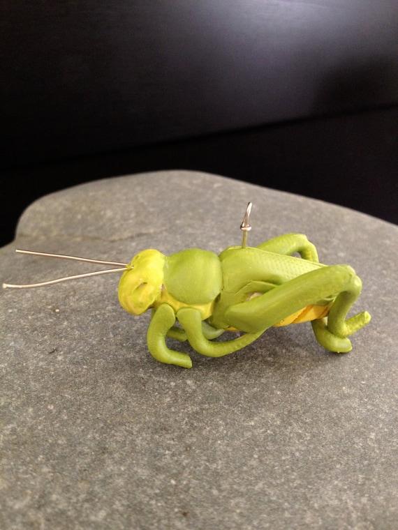 Handmade Polymer Clay Pendant Grasshopper