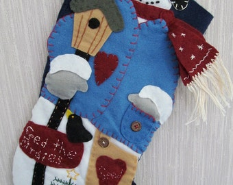 Feed the Birdies Completed Handmade Felt Christmas Stocking from Bucilla Kit