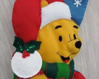 Pooh Bear Completed Handmade Felt Christmas Stocking from Janlynn Kit