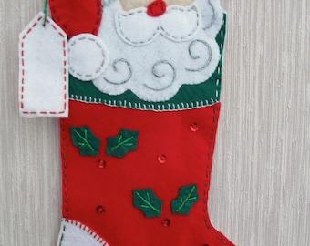 Santa Buddy Completed Handmade Felt Christmas Stocking from Bucilla Kit