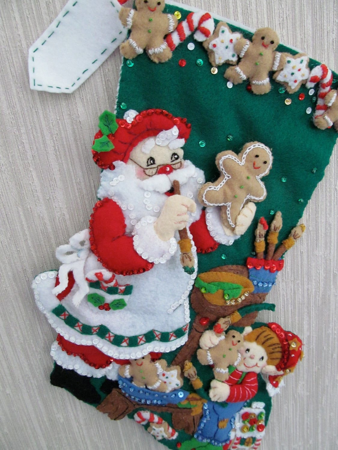 Christmas Cookies Completed Handmade Felt Christmas Stocking
