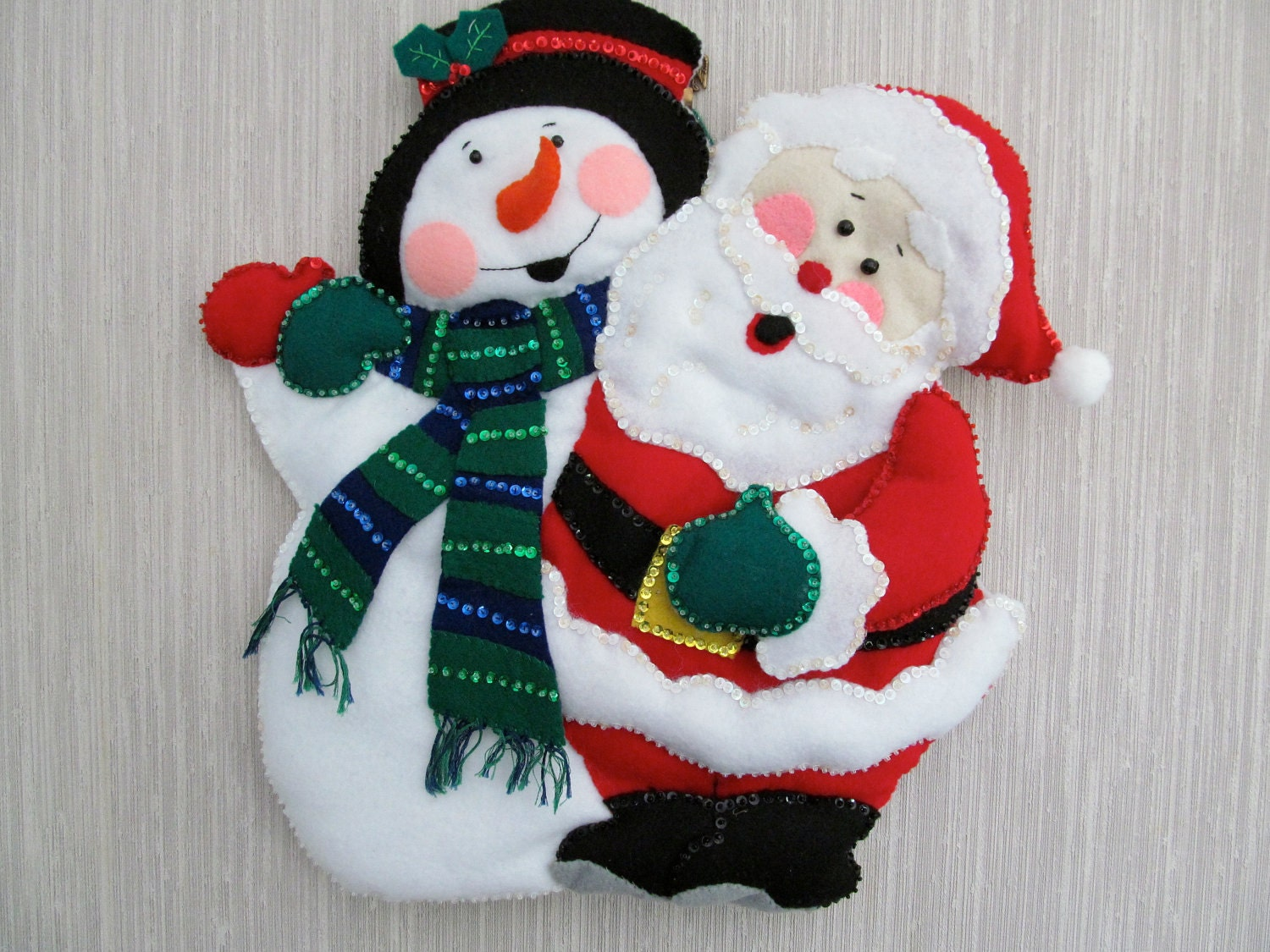 Santa and Frosty the Snowman Felt Wall Hanging Decoration Completed Handmade from Bucilla Kit