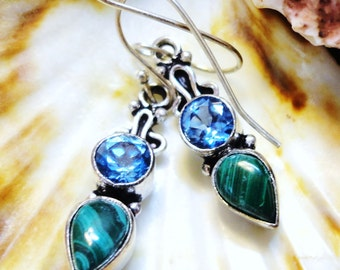 Malachite and Swiss Blue Topaz Encased in Silver