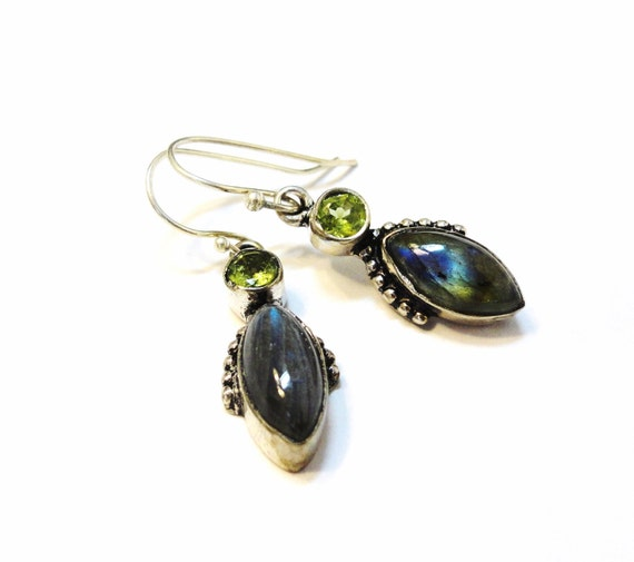 Peridot and Labradorite with Sterling Siver Earwires