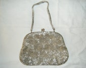 "Silver Beaded Purse (Vintage)- ""Richelle Bag"" by Walborg"