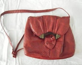 1980's Red Faux Snakeskin Purse