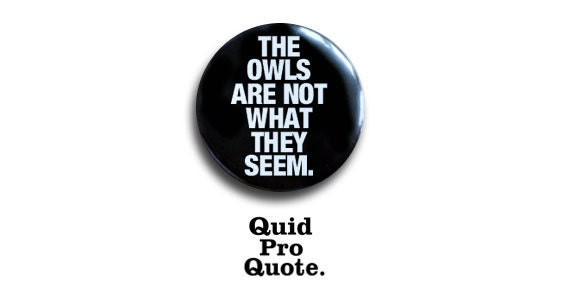 Twin Peaks- Log Lady- The owls are not what they seem- pinback button