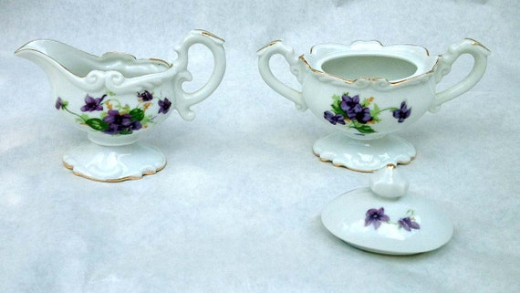 Sweet Violets Cream and Sugar Set