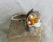 Sterling Silver Flower Ring with Glass and Pearls