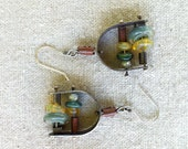 Sterling Silver Boro Glass and Pearl Earrings (Reserved for Cindy)