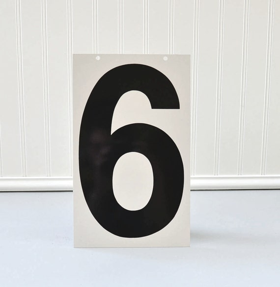 Vintage Metal Number Industrial Sign 6 and 7 - Double Sided