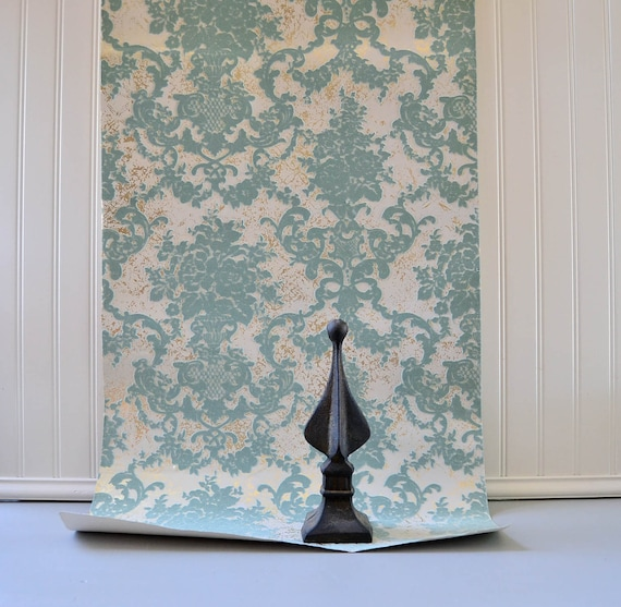 Vintage Wallpaper Damask Blue and Silver Flocked and Foiled