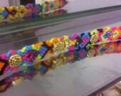 Multicolored Friendship bracelet arrow head with Rhinestones and Goldtone embelishment