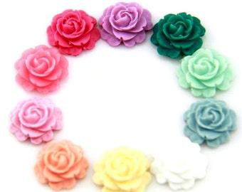 Top high quality 20 pcs of mixture colors of resin rose cabochon-10 colors-16m-0470  mix  color