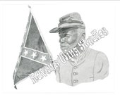 Print of a Civil War Confederate Soldier with Confederate Flag