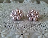 Vintage Pink Pearl Cluster Clip On Earrings